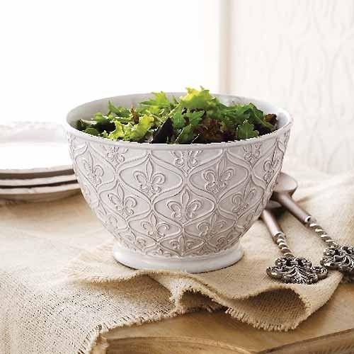 Large Ceramic Fleur-de-Lis Serving Bowl