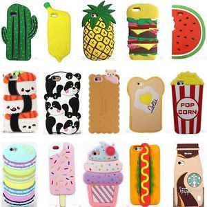 on sale 42211 9c9be 3D Cartoon Hot Cute Kawaii Food Silicone Phone Case Cover Back For ...