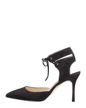 THE A TO Z OF SHOE SHOPPING: B IS FOR MANOLO BLAHNIK - first look a/w 13/14 shows Lara Suede Laced-Ankle Pump - Bergdorf Goodman