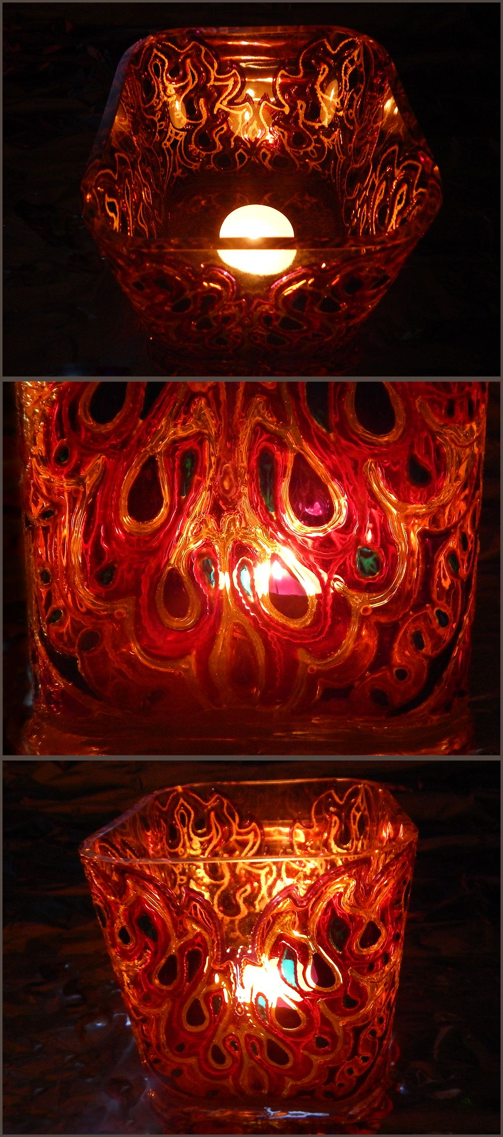 RichanaDragon. Fire and Wind. Cube bowl (candle holder