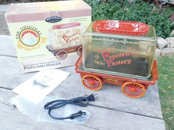 PopCorn Factory Hot Air, Wagon Popcorn Wagon in Box, Never Used, Kitchen Decor, Kitchen Ware, Vint Kitchen, country decor, farm house sh #kitchenware