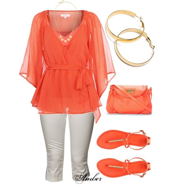 Orange - Spring Outfit by stay-at-home-mom on Polyvore -simply orange & white, one of my favorite color combos -HH