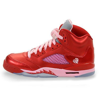 4ba9e3df9f11 Nike Girls Air Jordan 5 Retro Gs Big Kids 440892-605 Red Pink Shoes Youth