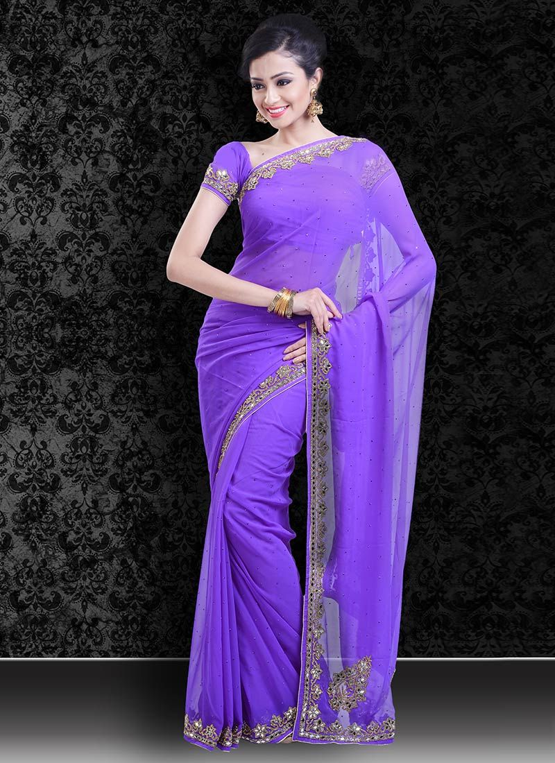 Makeup with emerald green dress  Lilac Georgette Saree  Indian Makeup  Pinterest  Georgette sarees
