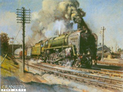 steam trains british in paintings - Steam Locomotives www.military-prints.com A Local Train Pulls Out by Terence Cuneo