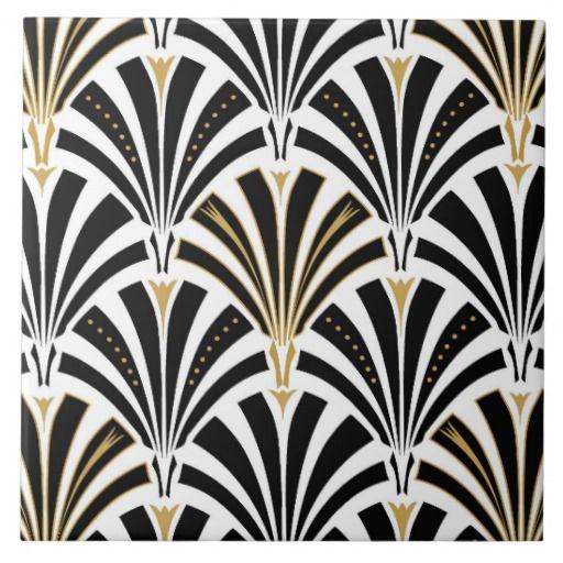 Art Deco fan pattern - black and white Tile | Zazzle.co.uk ...