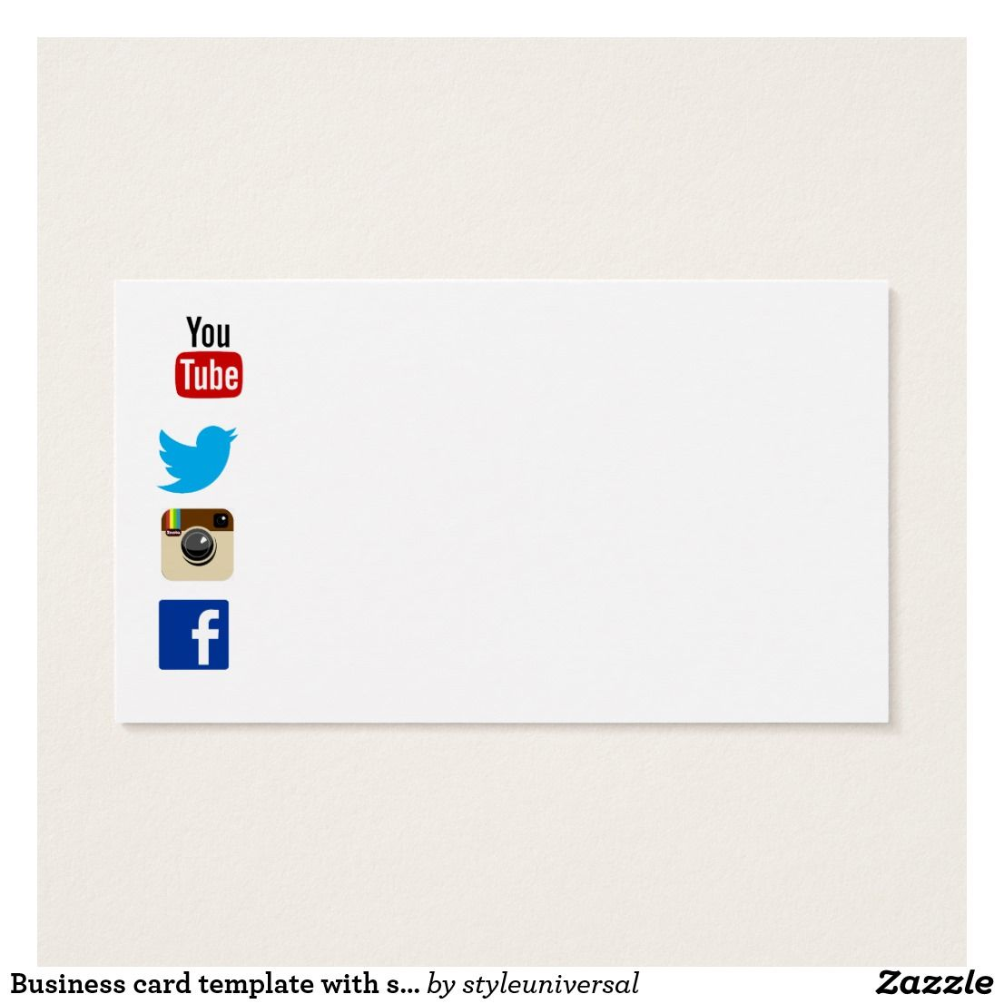 Business Card Template With Social Media Icons 2 Zazzle Com Business Card Template Social Media Icons Cards