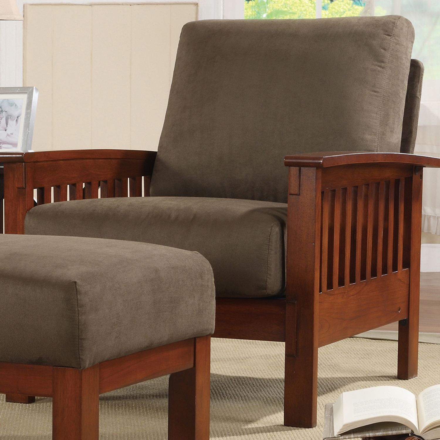 Mission Style Living Room Chair Hills Mission Style Oak Accent Chair By Tribecca Home By Tribecca