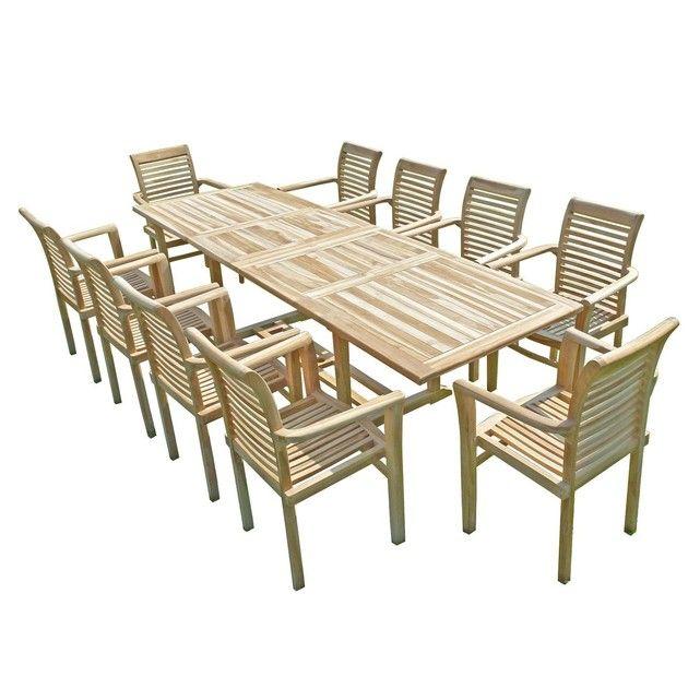 Ensemble salon de jardin en teck BATAN 10 fauteuils empilables ...