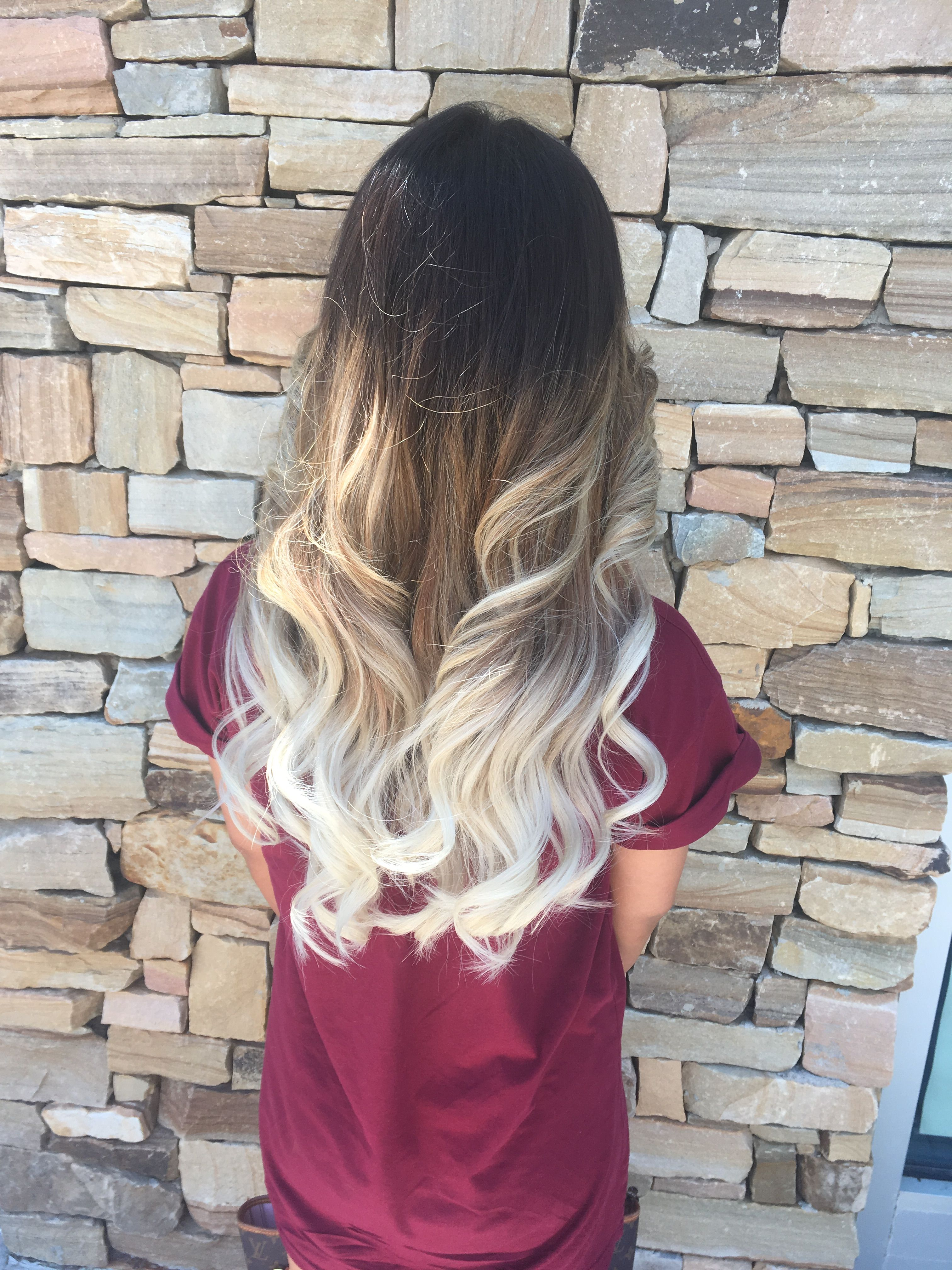 Dark Brown To White Blonde Balayage Aveda Hair Ombre White Ombre