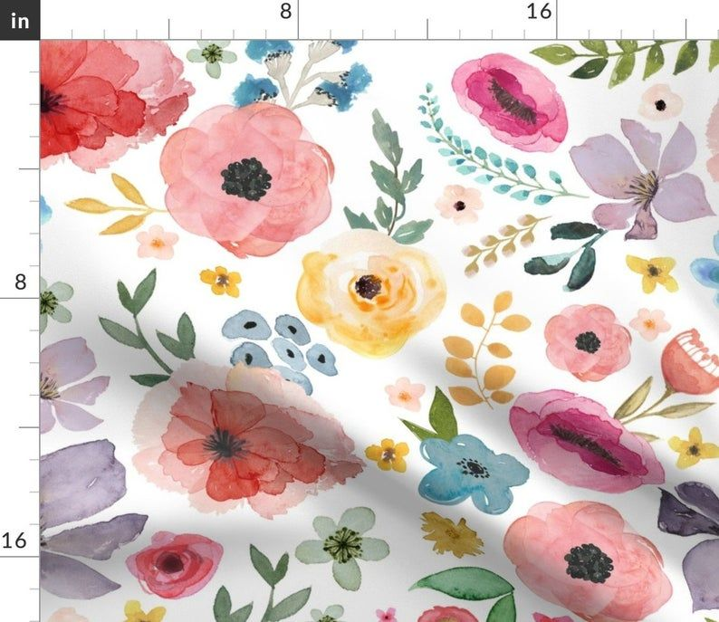 Watercolor Custom Curtain Panel by Spoonflower 21 Floral Fiesta  White by shopcabin Floral Curtain Panel