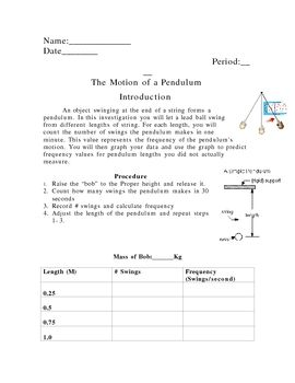 Motion Of A Pendulum Lab Kinetic Potential Energy Friction Potential Energy Kinetic And Potential Energy Pendulum