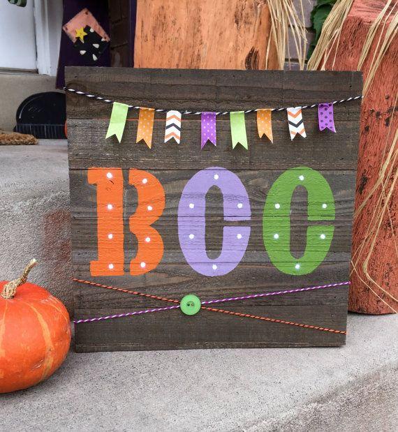Sale Small Wooden Pallet Halloween Boo Light Up Home Decor Pallet Halloween Halloween Pallet Signs Pallet Home Decor