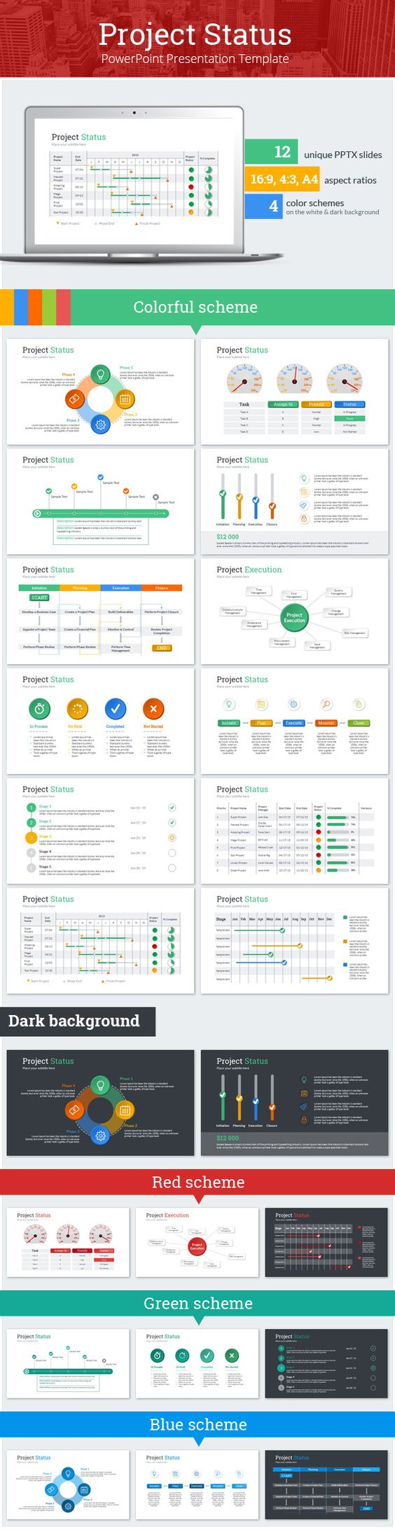 Project Status Dashboard And Colorful Template For Monitor And
