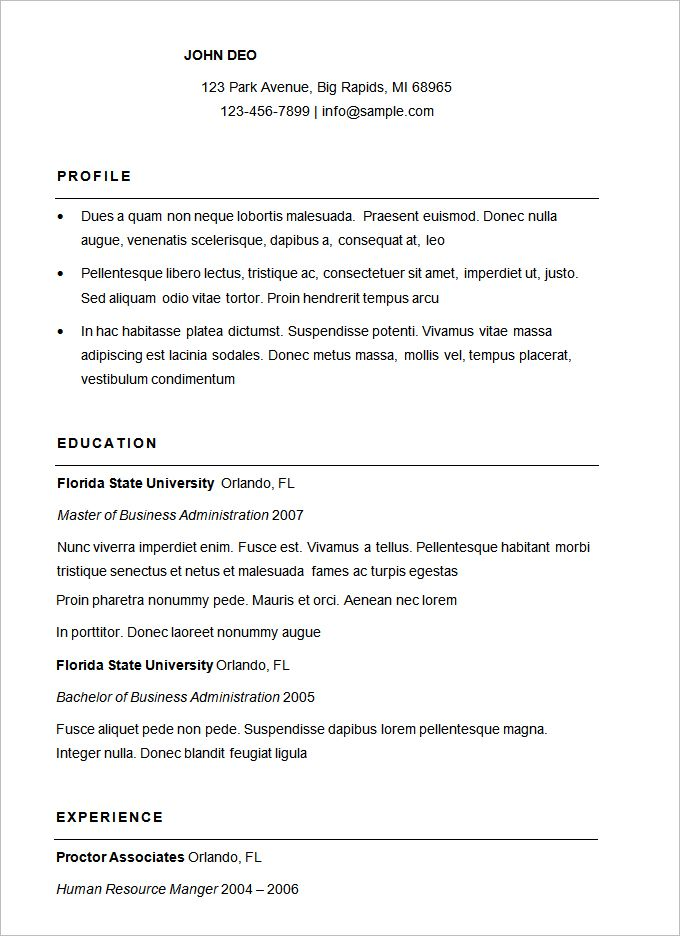 Basic Resume Template - 51+ Free Samples, Examples, Format - basic resume template free