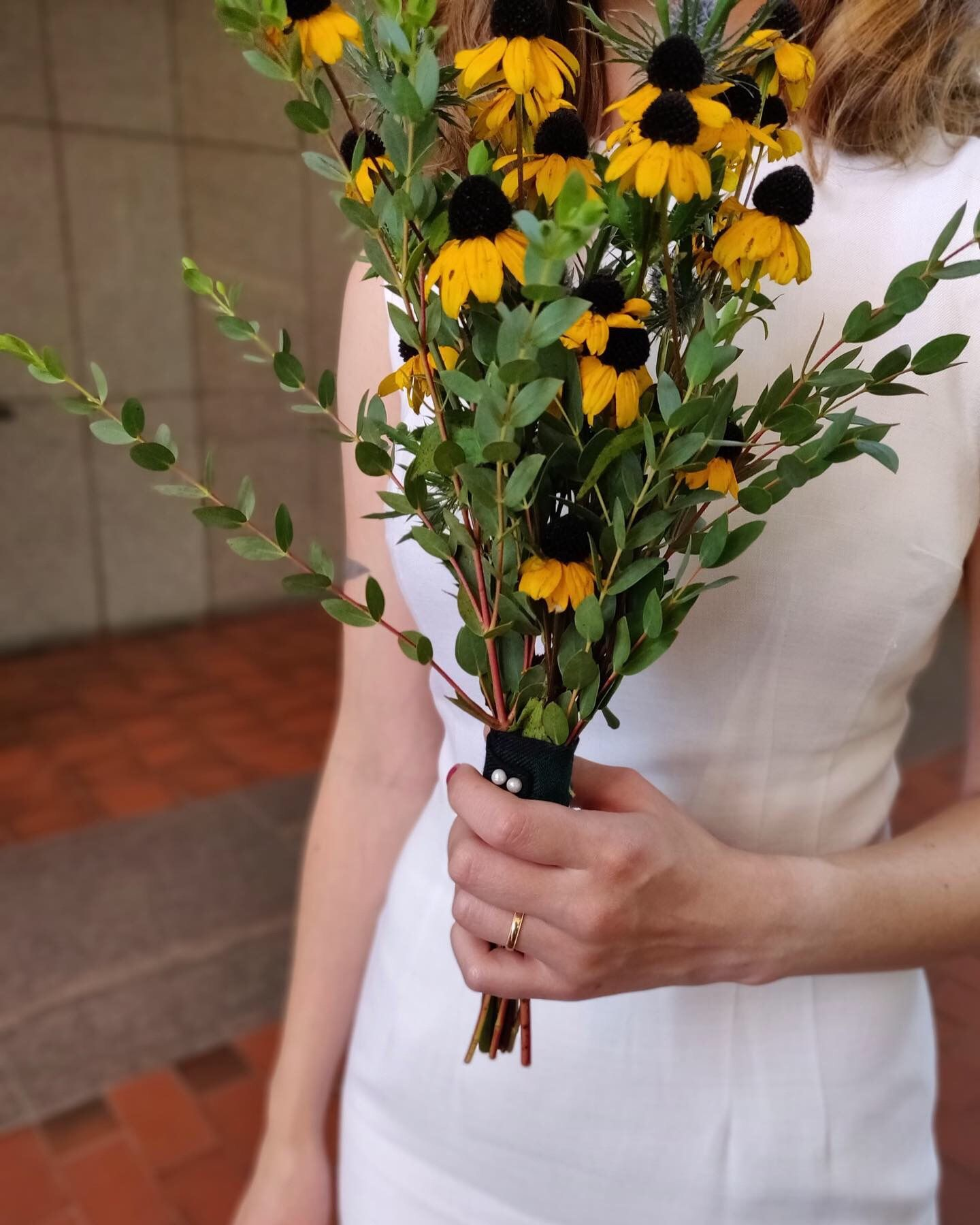Bouquet of Blackeyed Susans and Scottish thistles for an