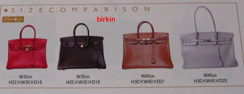 Hermes Birkin size chart  20536598450f4