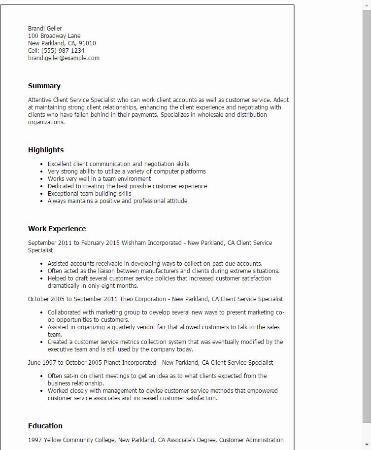 Customer Service Specialist Resume Lovely Client Service