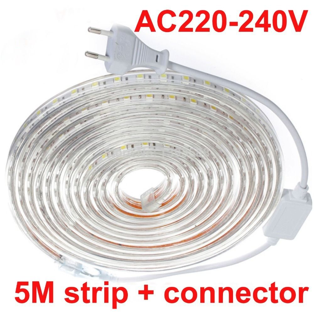 5m Set Waterproof Daylight 220v 5050 Smd 60 Led Flexible Strip Light Warm White Cool White 60leds M Waterproof Led Flexible Strip Strip Lighting Led