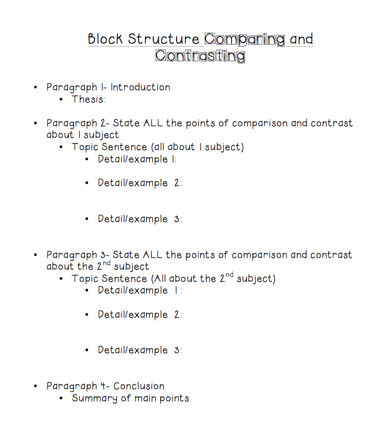 compare and contrast lesson plan 8th grade