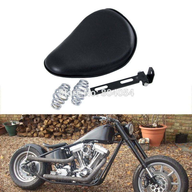 Motorcycle Black Leatheroid Solo Spring Saddle For Harley