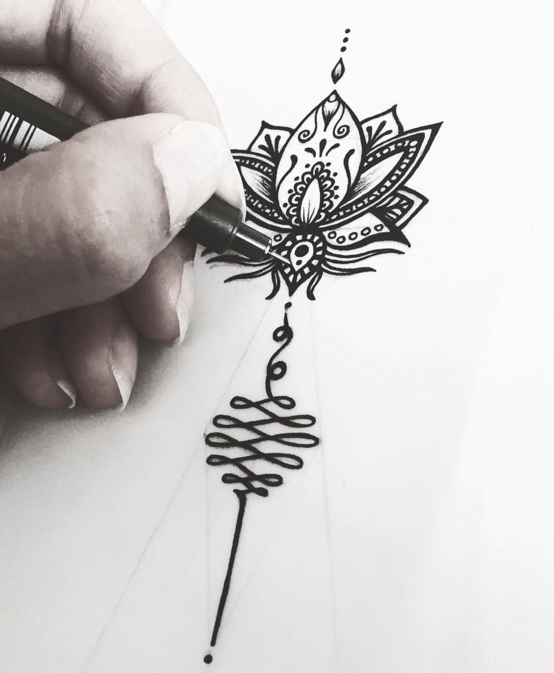 Unalome Sacred Geometry Spiritual Tattoo 5