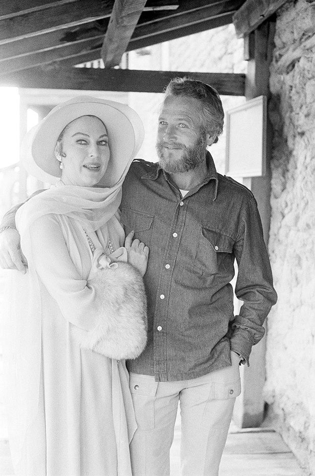 "Ava Gardner and Paul Newman on the set of ""The Life and Times of Judge Roy Bean"" in 1972"