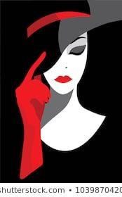 Imagens, fotos stock e vetores similares de l'illustration des femmes cheveux longs avec un chapeau, logo rétro femmes font face sur fond blanc, vector – 501309841   – Arte