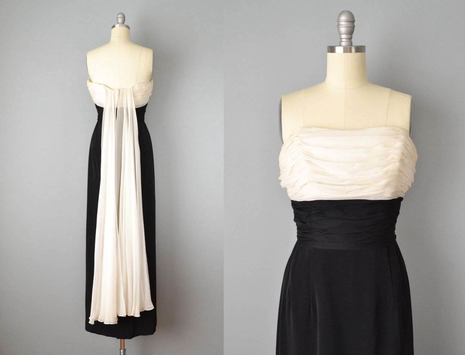 50s Dress // 1950s Black and White Strapless Silk Crepe Evening Gown ...