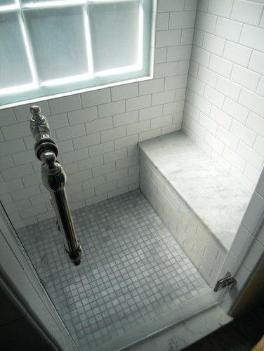 Marble Mosaic Shower Floor Marble Bench Seat Frameless