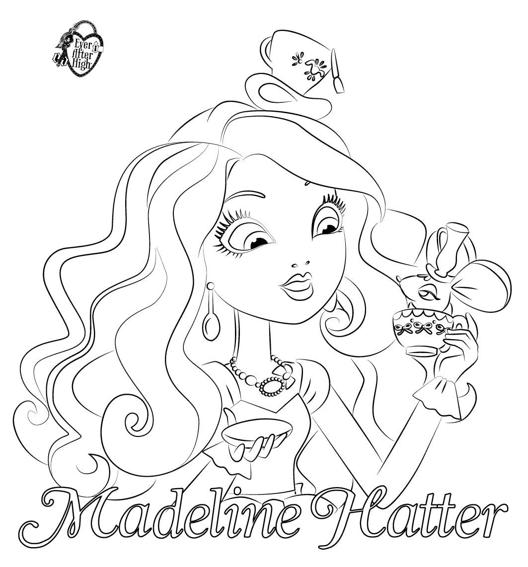 Worksheets Monster High Worksheets ever after high coloring pages dibujos de madeline hatter para colorear