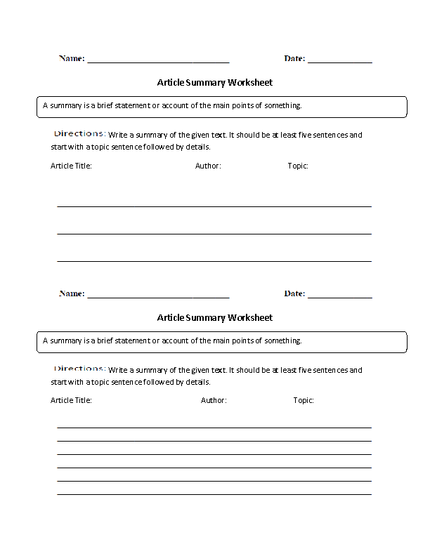 Article Summary Worksheet Englishlinx Board – Reading Summary Worksheet