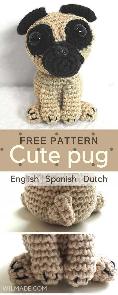 Cute pug! Free crochet pattern for this dog/puppy can be found on ...