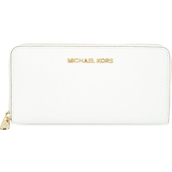 5755a07c808e Jet Set saffiano leather wallet (214430 IQD) ❤ liked on Polyvore featuring  bags, wallets, accessories, optic white, michael michael kors bags, ...