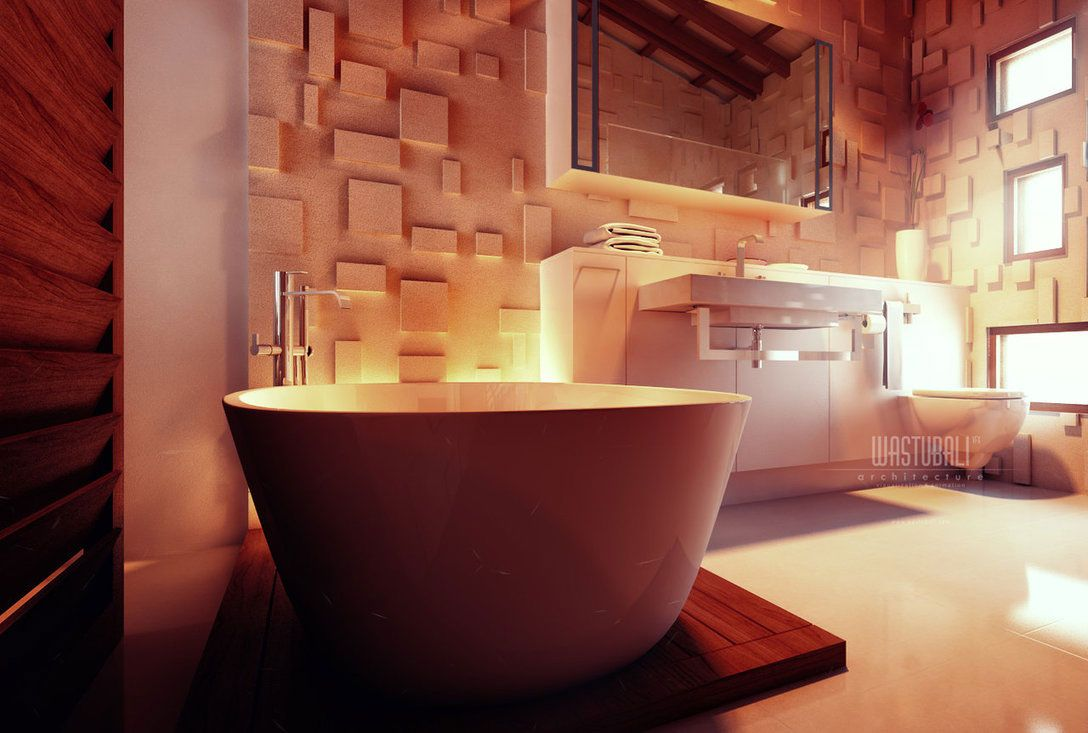 Exotic Bathroom With Textured Wall Treatment In Luxury
