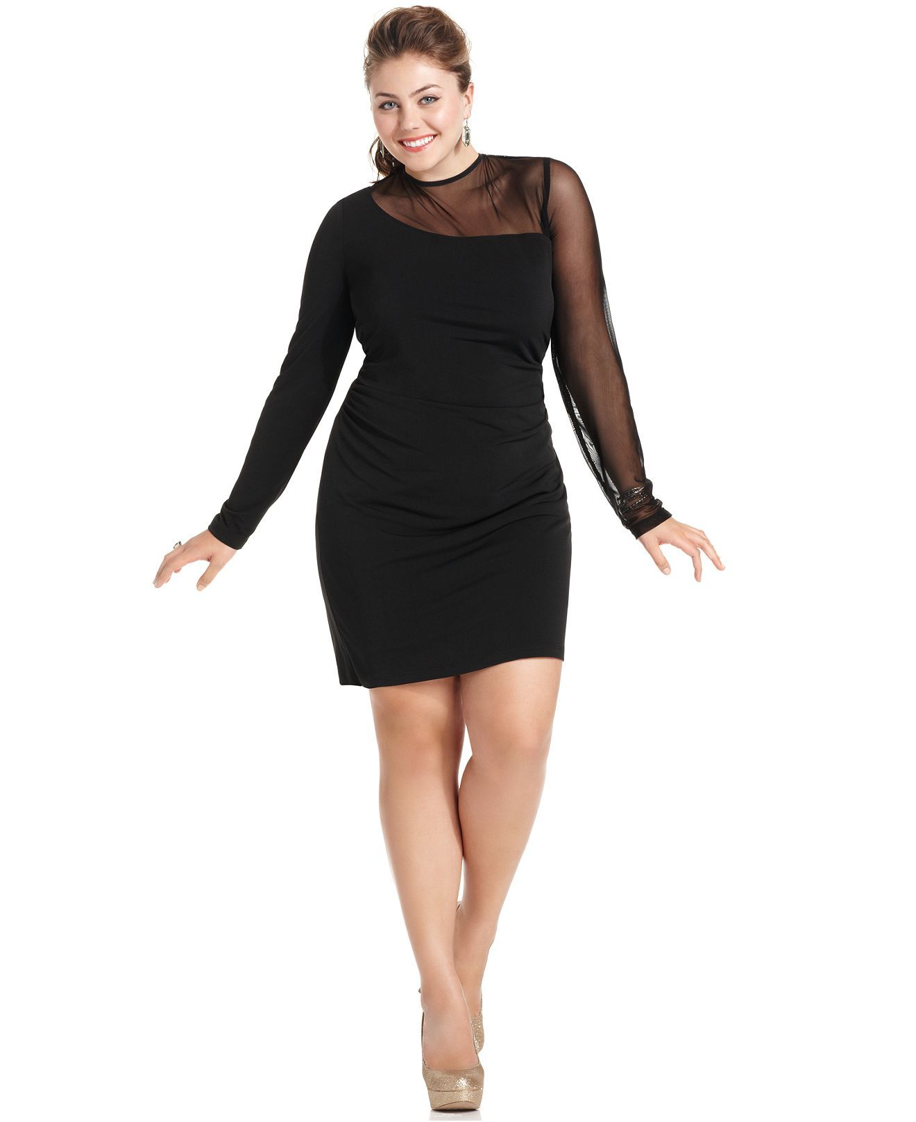 ruby rox plus size dress, long-sleeve mesh illusion - girl's night