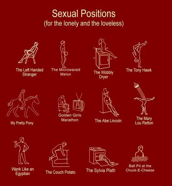 Sexual Positions (for lonely and the loveless)  Me he reído con esto como hace rato no lo hacía. ;) ;)