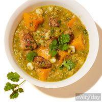 Spicy Pork & Butternut Squash Stew - posole, serrano, poblano, cilantro, pork shoulder, butternut squash, hominy