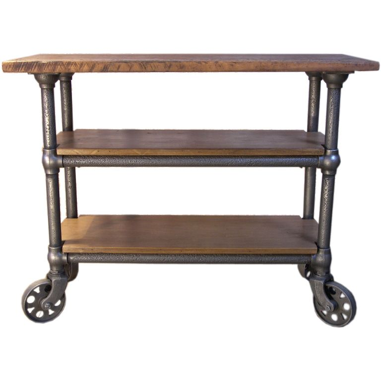 Vintage Industrial Furniture: Vintage Industrial Wood & Metal Roll Around Cart / Island