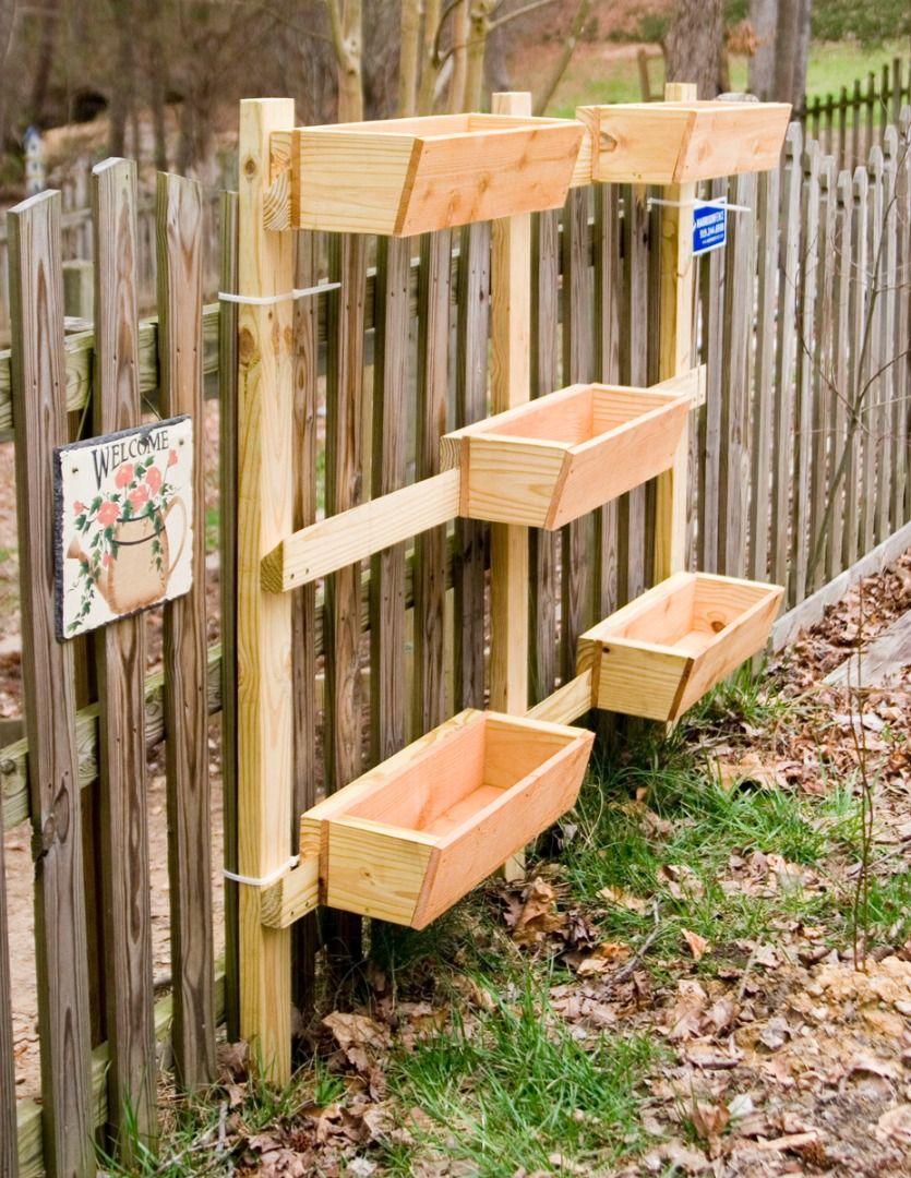Garden and Patio, Creative DIY Vertical Wood Garden Planter Boxes ...