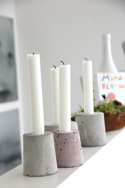 adventskranz diy 4 kerzenst nder im advent kerzenst nder zement und beton diy. Black Bedroom Furniture Sets. Home Design Ideas