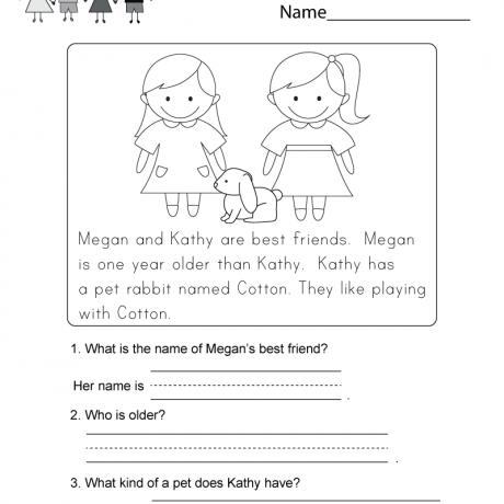 Reading Comprehension Worksheet Free Kindergarten English Worksheets