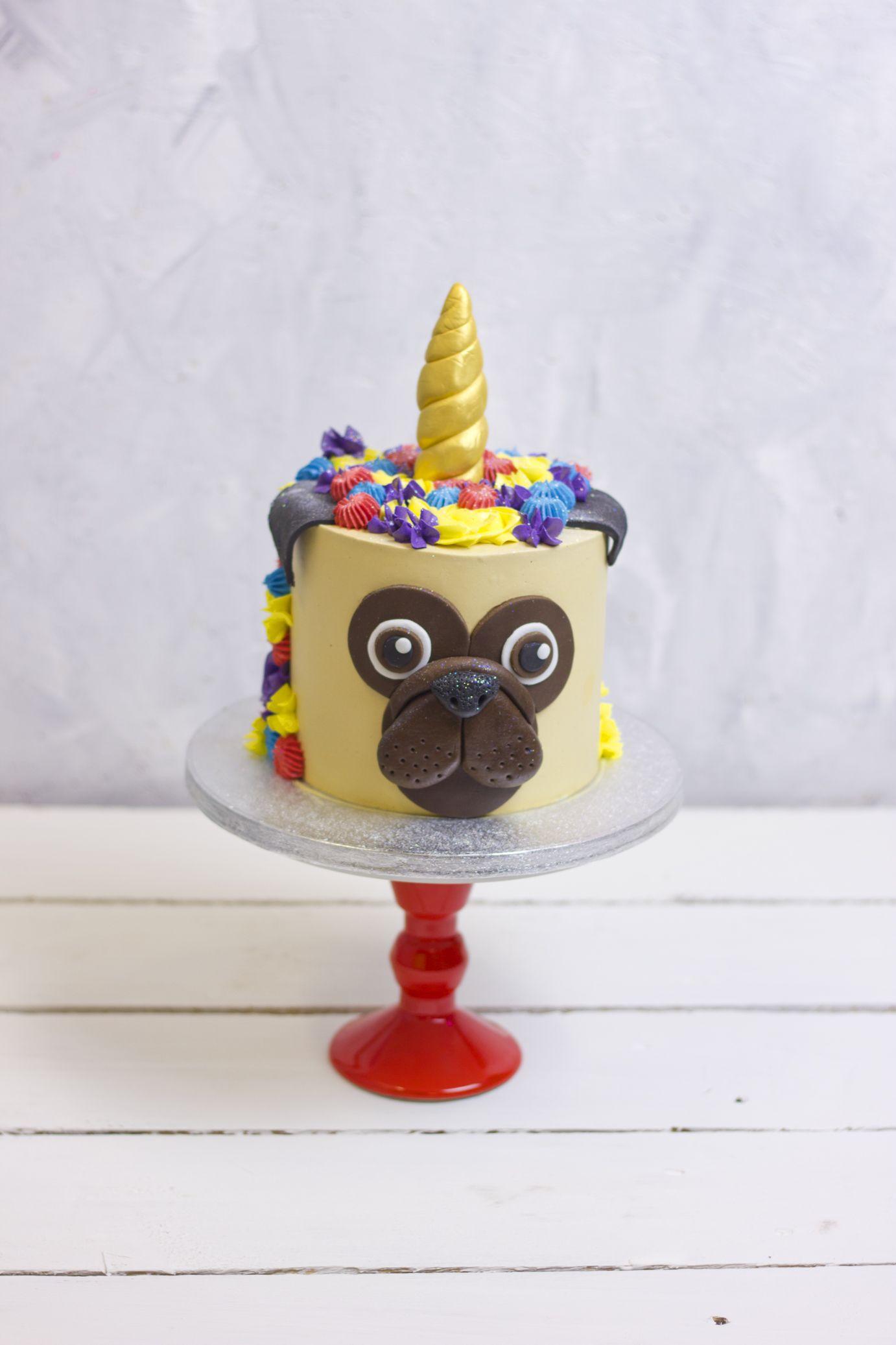 Bespoke Pug Unicorn Birthday Cake Flavourtown Bakery