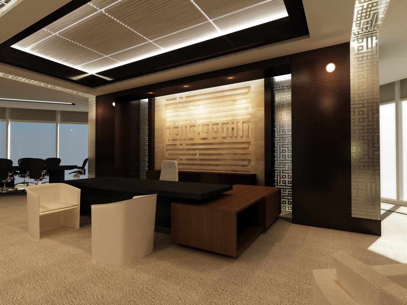Office interior design intended for office interior design for Office desk layout ideas
