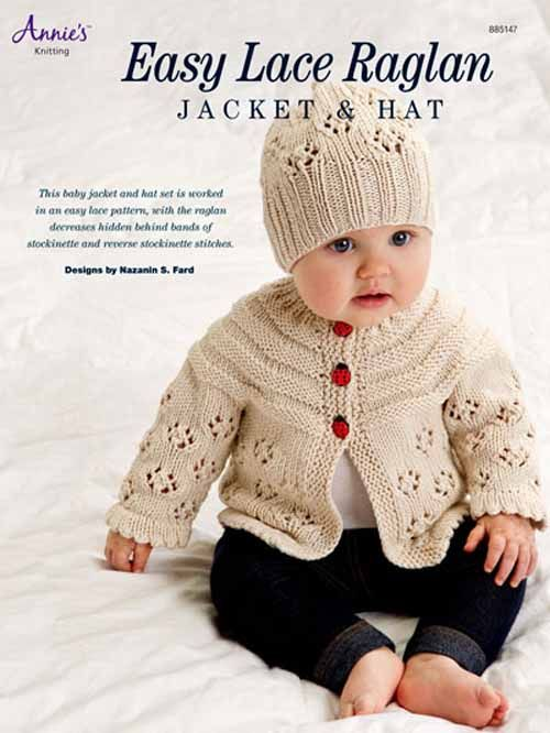 This baby jacket and hat set is worked in an easy lace ...