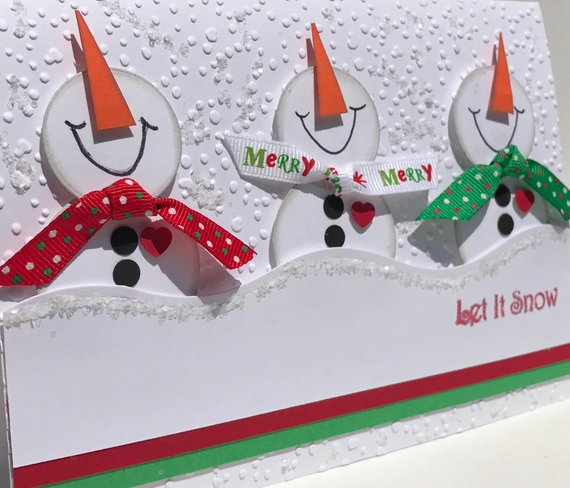 Let It Snow 3d Snowmen Card In Red And Green 3d Christmas Card