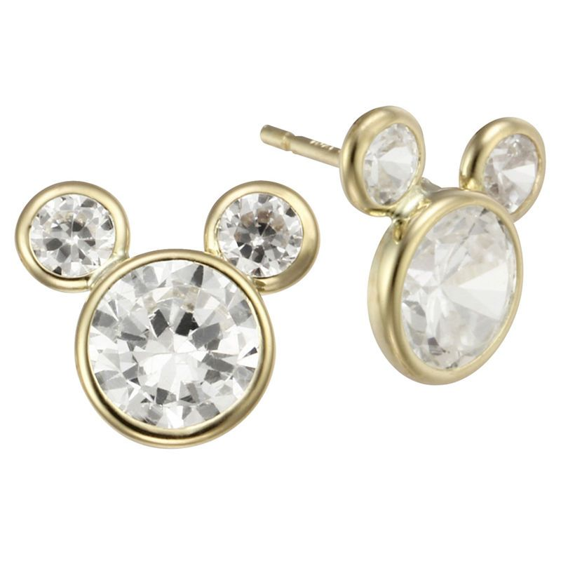6bdbf6bf1 Girls Disney Mickey Mouse 10K Gold Cubic Zirconia Stud Earrings Girls Mickey  Mouse 10K Gold Cubic
