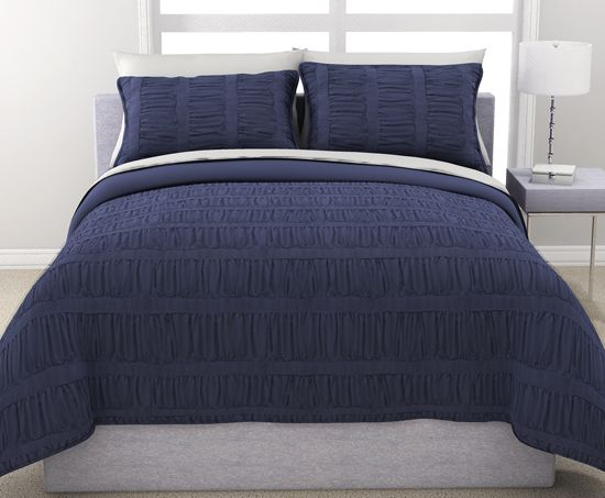 Navy Blue Duvet Cover Queen Ruched Bedding Bed Comforters Blue