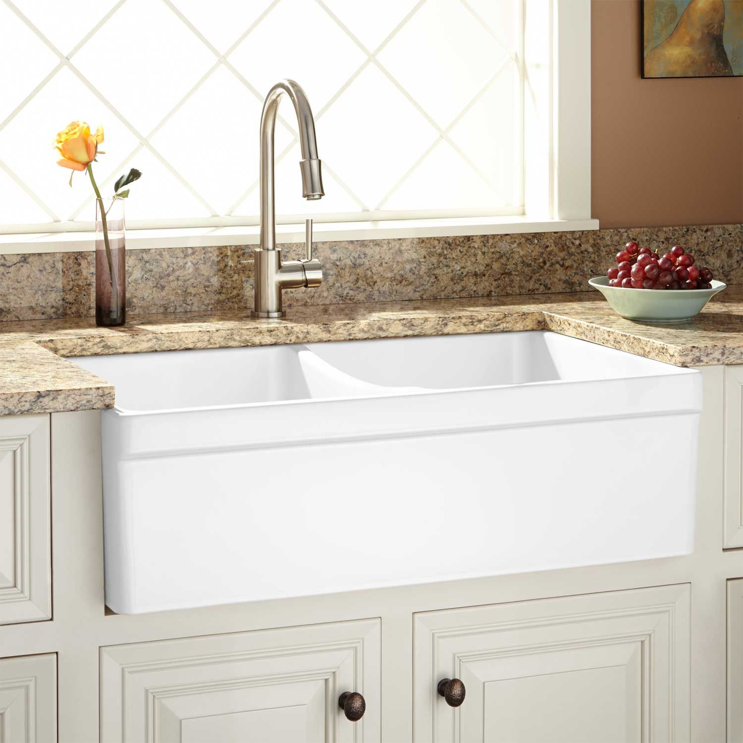 33 Fiammetta Double Bowl Fireclay Farmhouse Sink With Belted