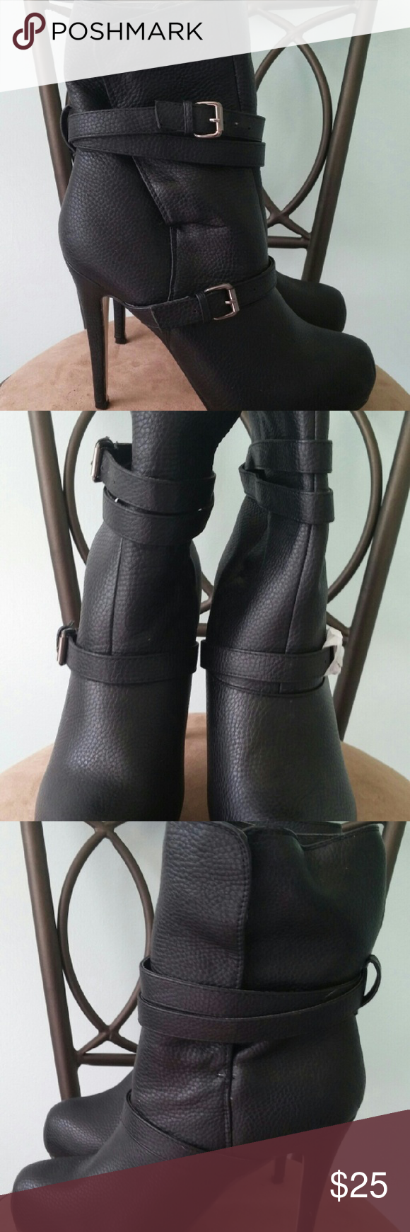 """JustFab """"Addie"""" Black Ankle Booties These Boots are SEXY!!!  Of course, they were too """"high"""" for me so, they have NEVER been worn!!!  They feature decorative straps with silver buckles on one side and they are pull on.  Size 8.5. JustFab Shoes Ankle Boots & Booties"""